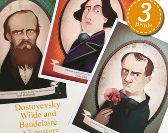 3 PRINTS PACK - Charles Baudelaire - Fyodor Dostoevsky - Oscar Wilde literary quotes- Elisabetta Stoinich Illustrations -  A3 11x17 inches