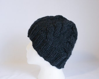 Bulky Cable Hat knitting PATTERN - bulky knit cable stocking hat adult - permission to sell finished items
