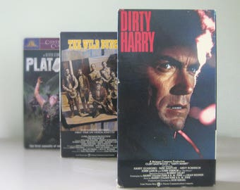 Dirty Harry, Platoon, The Wild Bunch, Classic Dad Movies on VHS Tape Gift for Him, Clint Eastwood, Charlie Sheen, William Holden