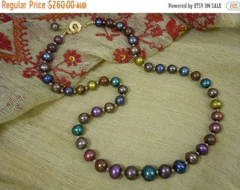 EOFY SALE 25% OFF Price Reduced! Necklace of jewel toned freshwater pearls & gold glows with the opulence of an antique Persian rug or Byzan