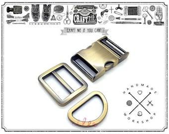 1set Brushed Gold Curved Side Release Buckle with Slide Adjuster and D Ring Strap Bag Belt Collar Set