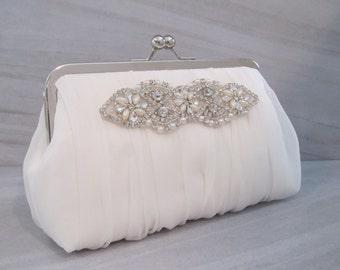 Romance Collection Rhinestone Pearl Ruched Ivory Chiffon Clutch,Bridal Accessories, Clutch,Bridal Clutch,Bridesmaid Clutch