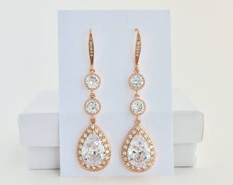 Long Rose Gold Bridal Drop Earrings Long Rose Gold Crystal Earrings Long Rose Gold Wedding Drop Earrings Long Rose Gold Bridesmaid Jewelry