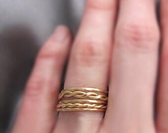Brass Stacking Rings, Gold Stacking Rings, Stacking Rings Set, Stackable Rings