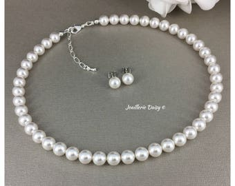 Swarovski Jewelry Set White Pearl Neckalce Bridesmaid Gift for Her Bridal Neckalce Earring Set Wedding Maid of Honor Gift for Mother in Law