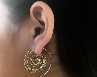 Brass Earrings - Brass Spiral Earrings - Gypsy Earrings - Tribal Earrings - Ethnic Earrings - Indian Earrings - Statement Earrings (EB5)