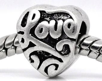 """10 pearls European heart charm """"Love"""" 10x9mm"""