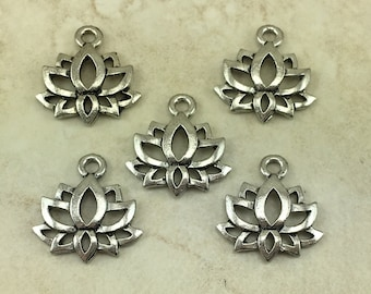 5 Lotus Flower Small Charms > Zen Peace Tranquil Yoga Buddhist Pond - Raw American Made Lead Free Pewter Silver - I ship internationally