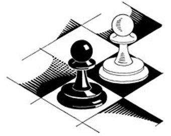 Chess Game Pawns Board - Digital Image - Vintage Art Illustration Retro Design