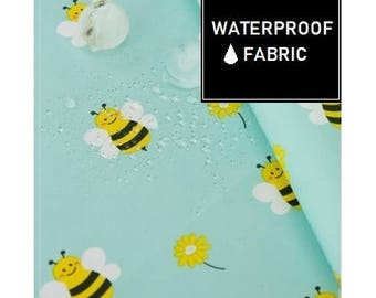 WATERPROOF Fabric - by Yard (150cm Width), Lovely Bee Pattern, Yellow and Mint