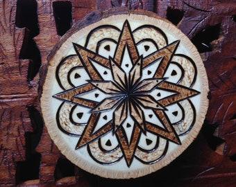 "2.5"" Wood Burned Magnet - Handmade Wood Magnet, Mandala Magnet, Bohemian Magnet"