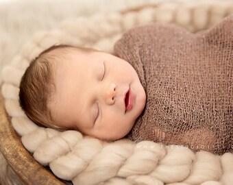 10ft Extra Long Fine Merino Wool Roving Braid -  Basket Filler - Cafe - Newborn Photo Prop