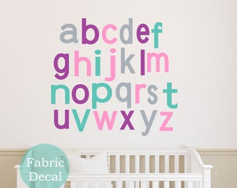 children girl Alphabet Wall Decals - kids  Wall Sticker  Fabric Wall Decal perfect decoration for nursery or playroom