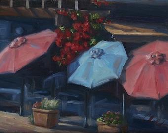 Jack London Square Umbrellas, cityscape, oil painting on canvas