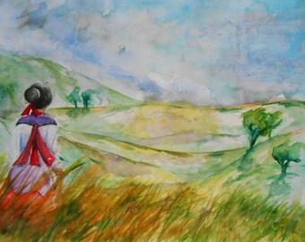 Original watercolor landscape view of the land, watercolor 36 * 48 cm