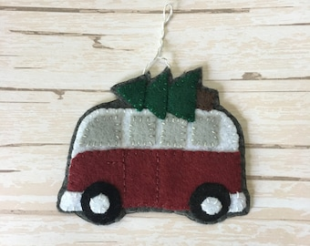 Felt Volkswagen bus Christmas ornament