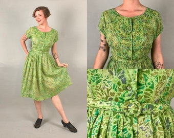 Vintage 1950s Dress | 50s Spring Green Purple Yellow Sheer Cotton Floral Shirtwaist Day Dress w/Matching Belt Volup  | Large Extra Large XL