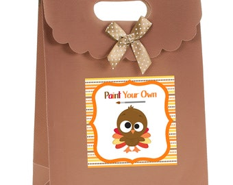 Paint your own Turkey Treat Tags, Printable Thanksgiving tags, Thanksgiving Gift Labels, Thanksgiving Favor Tags, Happy Thanksgiving Tags