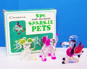"Four Chadwick Sparkle Pets Animals Miniatures and Box 1975 1 3/4"" h"