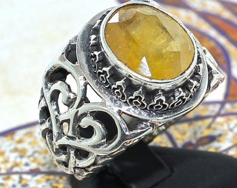Silver Mens Ring yellow Sapphire corundum Sterling 925 unique handcrafted artisan jewelry