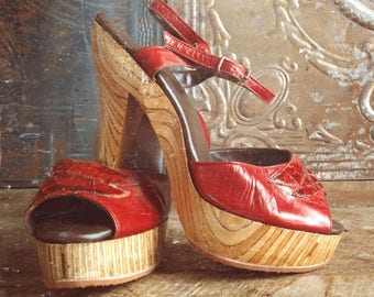 Rare Vintage 70's Leather Platform Heels