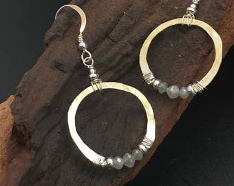 Genuine Diamond Hoop Earrings, Mixed Metal Earrings, silver, gold earrings, 2cts tw diamonds, earrings under 300