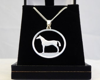 Irish 20 pence, horse design. Silver plated pendant and sterling silver chain