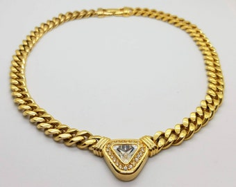 Vintage Swarovski Signed Necklace / Gold Plated / Swarovski Crystal Necklace /  S.A.L. / Vintage S.A.L. / Gold Curb Chain / Gourmette Chain