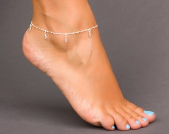 Sterling Silver Ankle Bracelet with Swarovski Crystals, Crystal Anklet, Simple Anklet, Foot Bracelet, Summer Jewelry, Body Jewelry, | 0045AM
