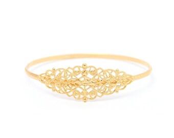 Sale - Gold Plated Lattice Bracelet, Elegant Bracelet, Delicate Gold Jewelry, Vintage Style, Bridal Bracelet, Dainty Bracelet, Gift under 35