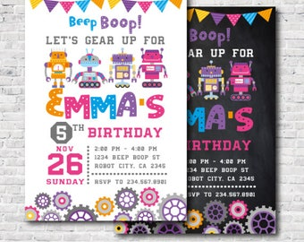 Robot Girl Birthday Party Invitation, Digital printable Invitation, 2 options!