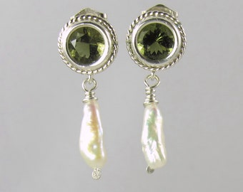 freshwater keshi pearl and faceted Czech moldavite sterling silver post earrings 6mm round tektite meteorite