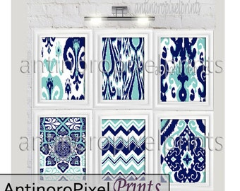 Ikat Prints Damask Navy Aqua Mint Green White Pictures, Set of (6) 8x10 Wall Art Prints, Custom Colors Available (Unframed) #245555592