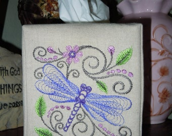 "Custom Made Cover  - ""A Dragonfly Morning "" -  Tissue Box Cover"