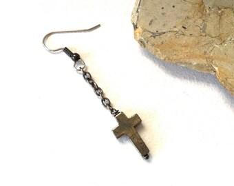 One Long iron pyrite cross earring, mans long earring, mens Jewelry, minimalist cross jewelry, single gemstone earring, mens dangle earring