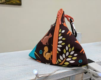 Handmade Forest Friends Pouch Bag / Purse / Dog Poop Bag or treat carrier with metal Carabiner clip to attach to a book bag or Handbag