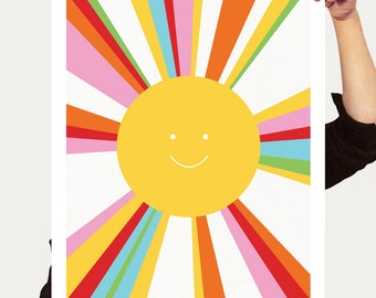 rainbow sun print - colourful decor kids nursery art, children baby girl boy gender neutral yellow multicoloured art bright artwork poster