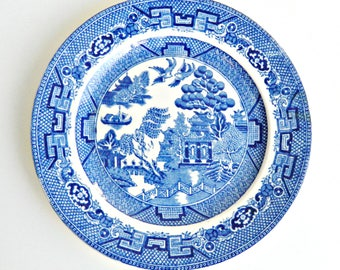 English Blue Willow Plate, Allertons English Transfer Ware China Plate, 1930s Salad Plate, Small Plate.