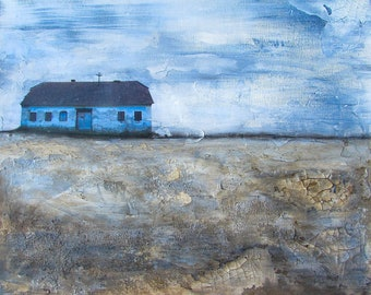 Original Artwork, painting, blue, house, mixed media painting