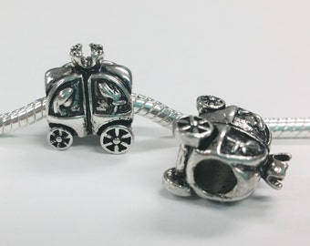 3 Beads - Princess Carriage Silver European Charm Bead E1389