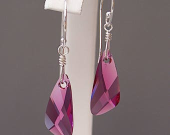 Pink Crystal Earrings with Swarovski Crystals on Sterling Silver - Gifts for Her