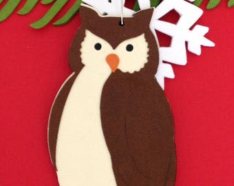 Owl Christmas tree ornament