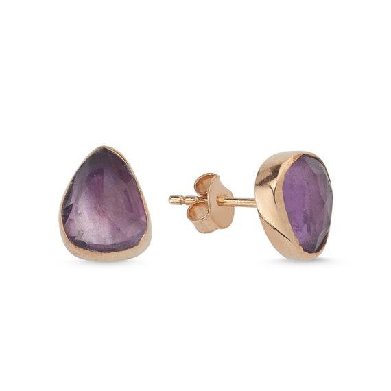 Silver Natural Amethyst Earrings, Rose Gold Earrings, Amethyst Earrings, Amethyst Stud Earrings, Minimalist, Minimal, February Birthstone
