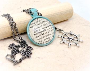 Nautucal, sea, ocean, nautical jewelry, vintage Dictionary page, dictionary jewelry, dictionary necklace, nautical necklace