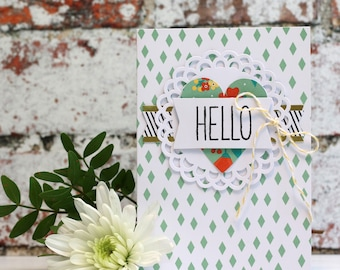 "Hello Hand Stamped, Multi Layered Card, Slightly smaller than A6 (5x3.5"")"