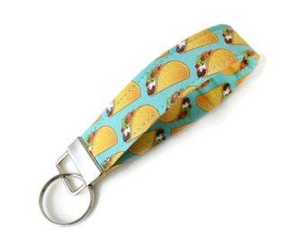 Taco Key Fob, Taco Keychain, Taco Fabric Keychain, Taco Key Chain Wristlet, Taco Lover Gift - Taco Lover