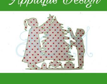 Christmas Tree Kids Silhouette Vintage Stitch Applique Machine Embroidery Design