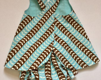 Baby Girl Pinafore Dress with Matching Bloomers, Sundress, Beachdress, size 6 month