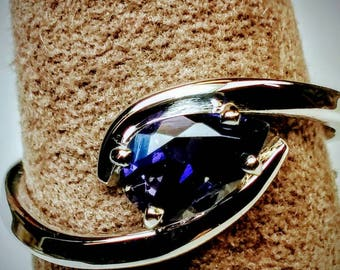 14k white gold iolite ring