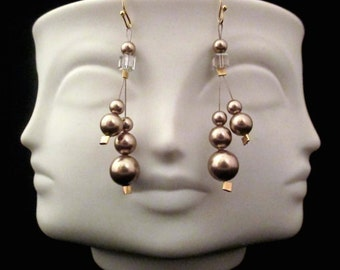 Small, Medium And Large Stacked And Dangling Swarovski Bronze Pearls Earrings